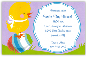 A sweet baby chick is balancing on a brightly colored Easter egg on this adorable invitation that is perfect for your special brunch or egg hunt!  Invitations are printed on premium quality 80# cardstock and white envelopes are included.  Available either blank or personalized.