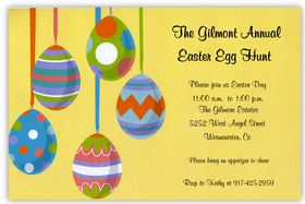 This sweet and contemporary Easter invitation has five brightly colored eggs with fun designs hanging from colorful ribbons against a sunny yellow background.  This invitation is a great way to invite friends and family to your special Easter dinner or egg hunt!  Printed on premium quality 80# cardstock and white envelopes are included.  Available either blank or personalized.