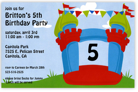 What an exciting way to announce your next childrens party!  A brightly colored bouncy castle is decorated with multi-colored flags and the age of your child (can be changed to any number).  Printed on premium quality 80 lb. cardstock and white envelopes are included. Available either blank or personalized.