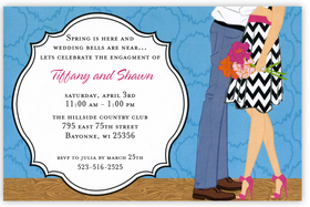 This sweet and colorful invitation shows a fashionable couple from the waist down sharing a hug!  She is holding a pretty flower bouquet that matches her trendy pink heels.   Perfect for an engagement dinner or couples party!Printed on premium quality cardstock and white envelopes are included. Available either blank or personalized.