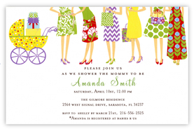 This contemporary shower invitation shows six fashionably dressed women waiting in line to see the new baby!  The buggy is a trendy polka dot design and colorful gifts are stacked inside. Printed on premium quality cardstock and white envelopes are included. Available either blank or personalized.