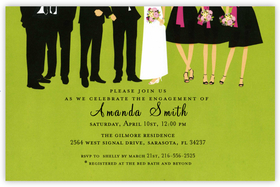 This colorful and contemporary invitation shows the bottom half of the bride and groom and their wedding party against a lime green background.  All are sharply dressed in tuxedos and fashionable dresses and the beautiful flower bouquets coordinate with with the bridesmaids dresses.  Printed on premium quality cardstock and white envelopes are included. Available either blank or personalized.