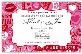 Im in the mood for love!  A bright pink and red border has fun romantic phrases, hearts and even bright red lips printed around the large center area for your personalization.   Perfect for your engagement announcement or Valentines Day party!  Printed on premium quality 80 lb. cardstock and white envelopes are included. Available either blank or personalized.