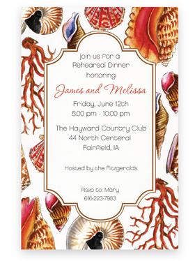 This stylish invitation has colorful seashells in varying sizes around the border, making it perfect for your next beach-inspired event!  Printed on premium quality ivory card stock and ivory envelopes are included. Available either blank or personalized.