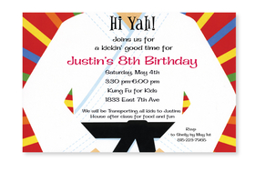 This fun and colorful invitation shows a person in white karate outfit with the traditional black belt.  Perfect for a karate expert of any age!  Printed on premium quality 80 lb. cardstock and white envelopes are included. Available either blank or personalized.