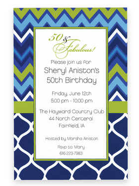 This contemporary design has a stylish combination of chevron stripes and lattice print in lovely blues and green.  Perfect for a rehearsal dinner or birthday celebration invitation! Printed on premium quality 80 lb. cardstock and white envelopes are included. Available either blank or personalized.