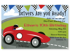This fun and colorful invitation has a speedy race car driver in a bright red sports car.  Black and white checkered racing flags border the top.  Perfect for your little racers next celebration! Printed on premium quality 80 lb. cardstock and white envelopes are included. Available either blank or personalized.