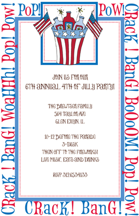 Its time to party, U.S.A. style!  This great new design has a fun border of patriotic words printed in red and blue, with two American flags and some fireworks printed along the top.  Printed on white card stock.  Includes coordinating envelope.