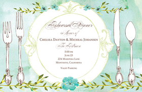 This beautiful watercolor design shows a formal placesetting with pretty flower accents.  Perfect for a rehearsal dinner invitation!  Printed on ivory textured heavy cardstock.  Coordinating envelope included.  Laser/Inkjet compatible.