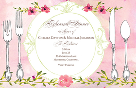 You wont find a more beautiful rehearsal dinner invitation!  An elegant placesetting is printed against a pink watercolor background with bright pink flower accents.  Printed on ivory textured heavy cardstock.  Coordinating envelope included.