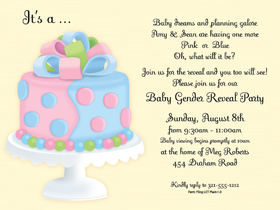 What a fun twist on a baby shower! this invitation shows a both pink and blue baby shower cake and can be used for a fun gender surprise baby shower party. Also can be used if the mom to be does not now if she is having a boy or a girl.   Includes a white envelope .