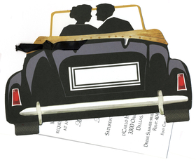 If your looking for a unique invitation for your wedding announcement of an Engagement announcement this is the one!  This fun invitation is a die cut design with a car and a silhouette of two people in love!  The car can be personalized in the license plate area with your Monogramm of a date.  Includes a 3.5 x 5 card to personalize  and is attached by a black ribbon .  Assembly is required, if you would like us to assemble a personalized order please add a comment in the comments section.  50 cents will be added per card assembled. <br>Includes white envelope.