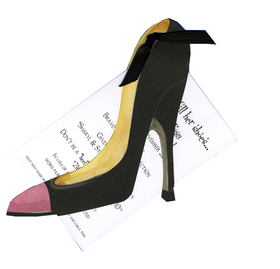 "This elegant and sassy invitation is the perfect way to invite the girls out on the town or to a fun ladies birthday party.  A stylish black stiletto has a pink pop of color at the toes.  The die-cut stiletto attaches to a white 3.5"" X 5.5"" card (for personalization) with a shiny black ribbon (included).   Add some extra sparkle with the optional glitter upgrade! Minimal assembly required.  We can assemble personalized orders for .50 per card (please make a note in comments).  Includes white envelope."