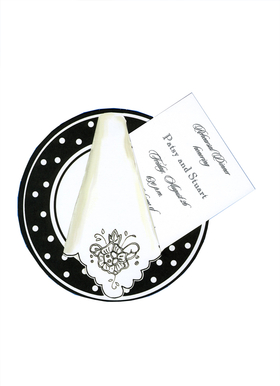 "This elegant die-cut invitation features a stylish black and white placesetting with a polka dot border around the plate and a fancy white napkin with decorative black flower and scalloped edge.  What a stylish way to announce a special dinner party or rehearsal dinner!  The white 3.5"" X 5.5"" card (for personalization) inserts easily into the pre-cut slot on the die-cut.  Add an extra touch with the optional glitter upgrade for .50 per card (please make a note in comments).  Includes white envelope."