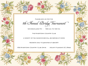 This lovely invitation has colorful floral bouquets in pretty yellow, red and blue around the border.  What a beautiful invitation for a ladies luncheon or bridal event!  Envelopes are included.