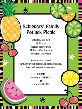 Brightly colored fruits decorate a bold green border on this fun invitation that is great for a picnic or summer party!   Laser/Inkjet compatible or we can print them for you!  White envelopes are included.<br><br>Coordinating tableware is available!
