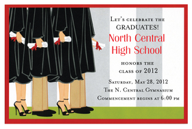 This trendy new invitation is a great way to celebrate your graduation!  Four graduates in traditional black robes are holding their rolled up diplomas on the big day.  The red ribbons tied neatly around their diplomas complement the fun red border of the card.  Printed on premium quality 80 lb. cardstock and white envelopes are included. Available either blank or personalized.