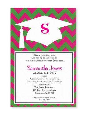 This trendy new design is the perfect way to celebrate your graduate!  The outline of a mortar board and tassel stand out brightly against the hot pink and lime green chevron border.   Printed on premium quality 80 lb. cardstock and white envelopes are included. Available either blank or personalized.