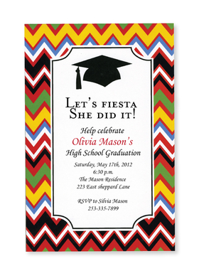 This fun new design is the perfect start to your graduates celebration!  A black mortar board and tassel stand out boldly against the large white area for your text and the border is a colorful zigzag pattern.  Printed on premium quality 80 lb. cardstock and white envelopes are included. Available either blank or personalized.