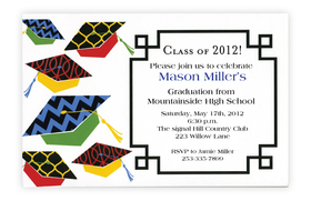 This trendy new graduation design is a fun and colorful way to announce your graduates celebration!  Mortar boards in bold red, green and yellow have fun designs on top and multi-colored tassels. Printed on premium quality 80 lb. cardstock and white envelopes are included. Available either blank or personalized.