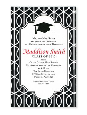 This elegant black and white trellis print is the perfect way to celebrate your graduate!  A bold black mortarboard and tassel stands out brightly against the white text area. Printed on premium quality 80 lb. cardstock and white envelopes are included. Available either blank or personalized.