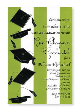 This colorful new graduation design is the perfect way to announce your celebration!  Five black mortar boards with tassels are printed along the left side against a bold green and white striped background.  Printed on premium quality 80 lb. cardstock and white envelopes are included. Available either blank or personalized.
