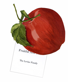 "An apple a day does more than keep the doctor away.....its a great invitation to your harvest party or get-together!  This bright red apple with green stem and leaf die-cut attaches to the personalized 3.5"" x 5.5"" white card with matching green raffia that is provided.  Includes white envelopes.  Minimal assembly is required or we can assemble personalized orders for $1.00 per card (please make a note in the comments section).  Glitter option is also available!"