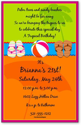 Enjoy the summer with your friends using this fun invitation that is decorated with flip flops, a beach ball, and the silhouettes of a palm tree and a beach umbrella.  Digitally printed for bright, crisp color on premium quality cardstock.  Available personalized only.  Includes white envelope.