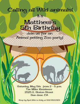 Perfect for a scavanger hunt party or safari party.  This fun laser paper is a great way to send your announcement.   A coordinating envelope is available but is sold seperately. <br>