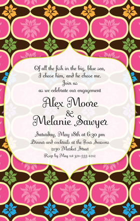 This stylish invitation will start your party off right!  A tropical background of bold pink and chocolate brown is intertwined with brightly colored flowers.  What a perfect way to announce your engagement, rehearsal dinner, or tropical party! Available personalized only.  Includes white envelopes.