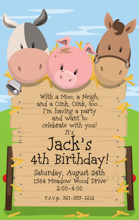 This adorable barnyard invitation will surely be a hit for your next party!  With a sweet piglet, horse and cow, your little ones special day will be off to a great start!  Available personalized only.  Includes white envelopes.