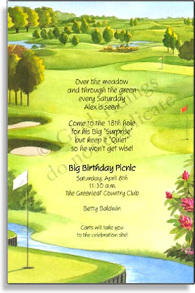 FORE!! Swing into Retirement, drive your Bachelor party, or begin your event with perfection. This Golf course themed card is complete with putting greens, fairways, sand traps, and waters. If youre event will be on the green, theres no better choice! <p>Premium quality cardstock includes white envelope.  Inkjet/laser compatible and available blank or personalized.</p>