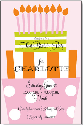 Perfect for a Sweet Sixteen or a teens party, this pink tiered cake birthday cake themed invitation is great for any gal.  Includes a white envelope.