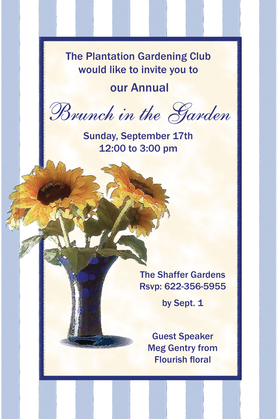 Perfect for a brunch with friends or a bridal shower.  This elegant invitation is designed with soft blue and white stripes with a dark blue border and a vase filled with sunflowers on the side.  Includes a coordinating envelope.