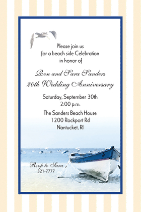 A beach themed invitation that is elegant and fun!  This invitation is designed with a striped border and a inner dark blue edging.  The center shows a boat on the beach with a seagal high above.   A great invitation for any beachside wedding rehearsal dinner, a engagement party or beach side wedding.  includes white envelopes.