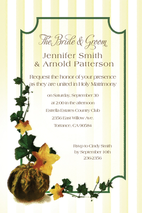 Gather the family together by sending this elegant invitation that is perfectly designed for the Thanksgiving season.  Created with a border of pale yellow and white stripes and a dark green scalloped border.  Accented perfectly with a pumpkin and green vines.  Includes white envelopes.