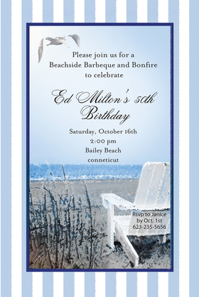 Great for a Beach side party! This elegant yet fun invitation is designed with a pale striped border accented with a dark blue inner border and an ocean scene with a adirondack chair waiting for someone to take in the view!  Perfect for a beachside bridal party, a beach wedding or a beach themed party.  includes coordinating envelope.