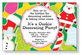 The most delicious part of the holidays is the baking parties!  This fun invitation features Christmas cookies in various holiday shapes with yummy frosting.  Perfect for your holiday baking or decorating party!  White envelopes are included.