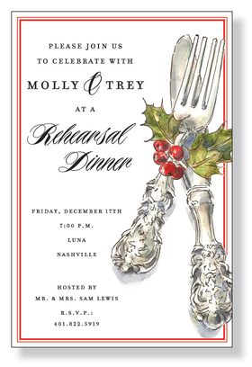 This elegant holiday invitation features a regal silverware setting decorated with a festive sprig of holly.  Perfect for your holiday dinner party or corporate function!  Printed on premium quality 80# cardstock and white envelopes are included.