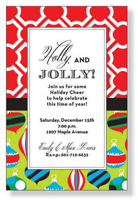 This bright and festive holiday invitation features a border that is a mixture of colorful holiday ornaments on the bottom and a bright red and white pattern on the top. This invitation is a fun way to announce your holiday party or gift exchange!  Printed on premium quality 80# cardstock and white envelopes are included.