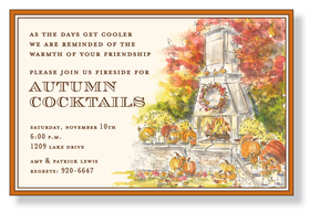 This elegant Autumn invitation features an outdoor hearth with a roaring fire, surround by the rich colors of Fall - orange pumpkins and crisp auburn and brown leaves.  This beautiful invitation would be perfect for your Fall gathering or Thanksgiving dinner!  Printed on premium quality ivory card stock and ivory envelopes are included. Available either blank or personalized.