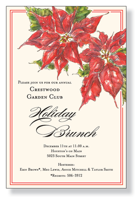 This stunning holiday invitation features two bold red poinsettias at the top, complemented with a slim red border.  What an elegant way to announce your event this season!  Printed on premium quality ivory card stock and ivory envelopes are included. Available either blank or personalized.