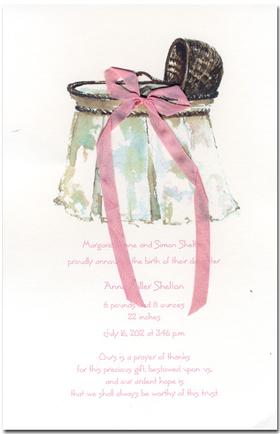 Babies Children BABY SHOWER Invitations Wicker Bassinet Pink