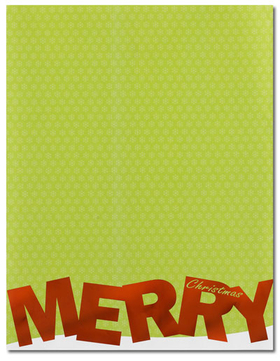 This fun new holiday design features a festive green background with Merry Christmas printed along the bottom. MERRY is printed is bright red foil that adds a special touch!. Not recommended for high heat printers.<br><br>Envelopes are sold separately.