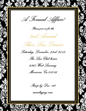 This elegant laser paper has a beautiful black damask border with sophisticated gold frame around your text area.  Premium quality 8.5 x 11 inch paper can be used for holiday party invitations, wedding announcements, or rehearsal dinner announcements. Envelopes are sold separately.
