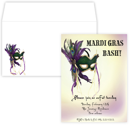 Whether it be the annual Mardi Gras Bash or a masquerade sweet sixteen theme, this invitation is perfect!  A soft background of purple and yellow gold hues and a purple and green feathers mask makes a great theme for any fat tuesday celebration or a masquerade themed party.  The Text Mardi Gras Bash can be edited and includes a coordinating envelope. <br>