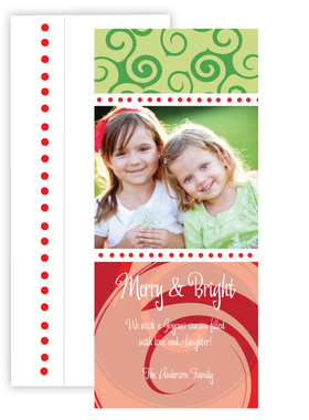 Fun and festive for your holiday greeting. a playful design of sirls in greens and red make this card perfect for your holiday photo to send to friends and family.  Includes coordinating envelope.