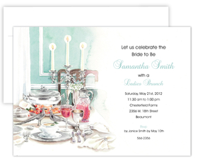 This beautiful brunch invitation is created from a watercolor design made perfectly to announce a ladies brunch or an engagement lunch.  Created with the traditional Tiffany blue color makes for a great invitation for any bridal event. <br>Includes a white envelope.