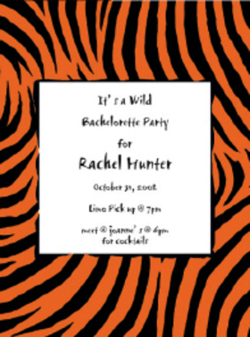 This fun border design shows an orange and black zebra print ready for a Wild Halloween Party! With a large center area for your personalization, these invitations are perfect for a Halloween party or for a wild night out with the girls.  Pemium quality cardstock is inkjet/laser compatible and available blank or personalized.  White envelopes are included.