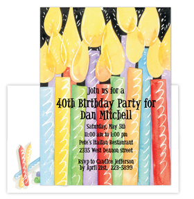 Light up the cake and blow out the candles!  This fun and colorful birthday invitation is perfect for a big surprise celebration or milestone birthday!   Premium quality cardstock is easy to print on your inkjet/laser printer or we can personalize them for you.  Includes coordinating envelope shown.